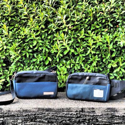 黒と青のボディーバッグ