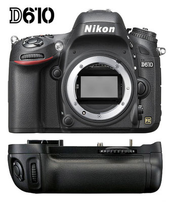 Nikon D610 body with battery grip
