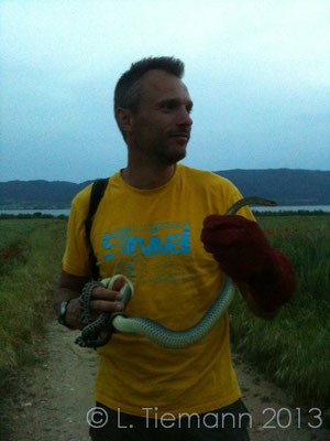 Showing off with 2 snakes I did not find myself.  © Laura Tiemann