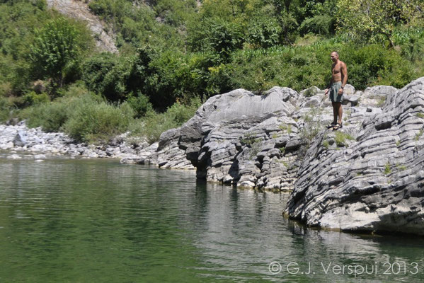Albanian swimming pool and me almost jumping