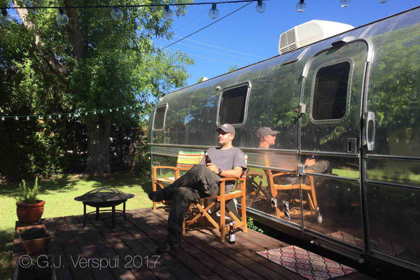 Tim in front of the airstream.