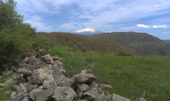 Nebrodi mountains with mount Etna