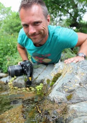 Fire Salamander - Salamandra salamandra and me.   © Laura Tiemann
