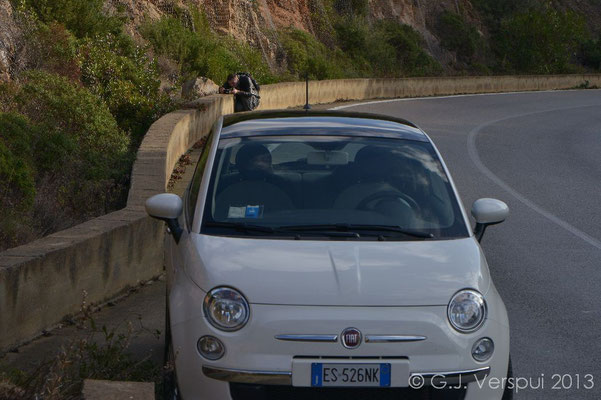 Wouter photographing Algyroides and our lovely car..