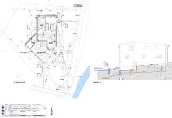 Kanalisation Untergeschoss + Schnitt
