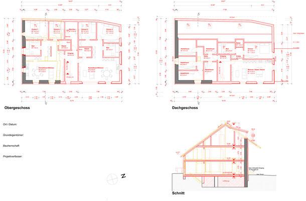 Obergeschoss, Dachgeschoss + Schnitt