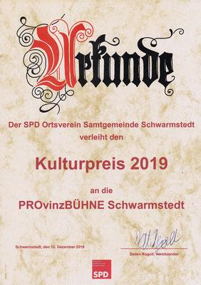 Urkunde Kulturpreis 2019
