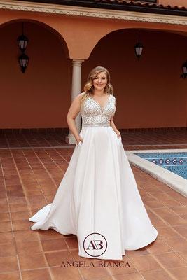Brautkleid A-Linie große Größe aus Satin mit Glitzer und Taschen vorne