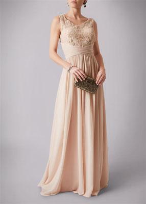 Abendkleid Abiballkleid Spitze und Perlen champagner