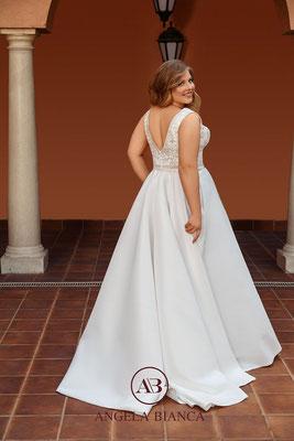 Brautkleid A-Linie große Größe aus Satin mit Glitzer und Taschen hinten