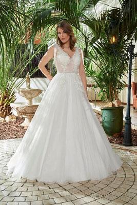 Brautkleid Prinzessin transparent, Spitze, viel Glitzer vorne