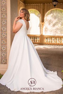 Brautkleid A-Linie aus Spitze und Satin mit Taschen große Größe hinten