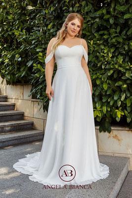 Brautkleid große Größe schlicht aus Chiffon mit Carmenträgern vorne