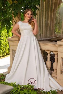 Brautkleid A-Linie aus Spitze und Satin mit Taschen große Größe vorne