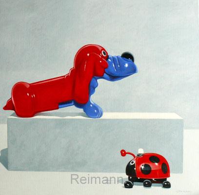 """""""Hund rot und blau""""70x70cm Öl auf Leinwand"""