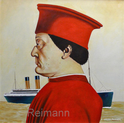 """""""Ein Herr aus der Renaissance und der untergang"""" Öl auf Leinwand 70x70 cm"""