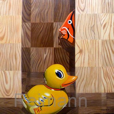 """""""Duck, Fish und DC Fix"""" Öl auf Leinwand 70x70cm"""