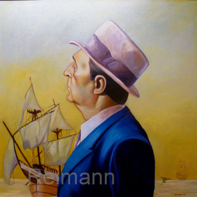 """""""Private Eye and Moby Dick"""" 70x70cm Öl auf Leinwand"""