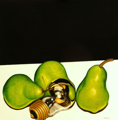 """""""Vier Birnen"""" Öl auf Leinwand 70x70cm"""