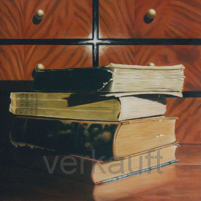 """Bücher"" 70x70cm Öl auf Leinwand  verkauft"
