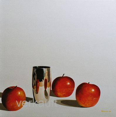 """""""Drtei Äpfel"""" 70x70 cm Öl auf Leinwand        verkauft"""