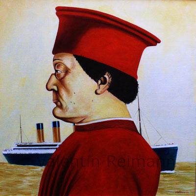 Ein Herr der Renaissance und der Untergang Öl auf Leinwand 70x70cm