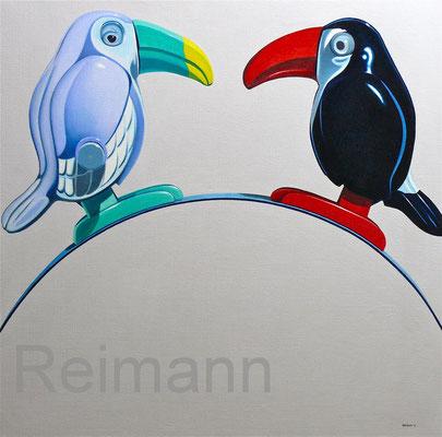 """""""Zwei Vögel"""" 70x70cm Öl auf Leinwand (hängt bei Frau Dr. Riemann)"""