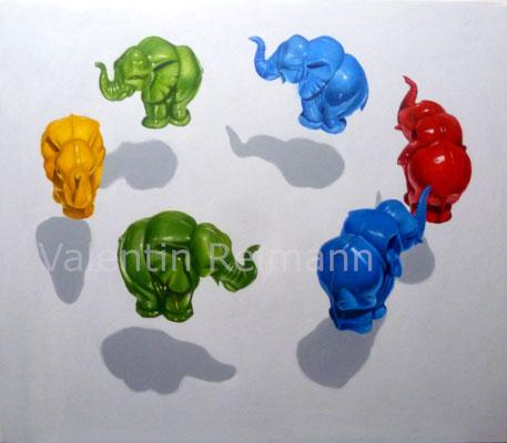 """Elefanten"" ca. 70x60cm Öl auf Leinwand 2020/21"