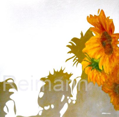 Eine gelbe Blüte 70x70cm Öl auf Leinwand