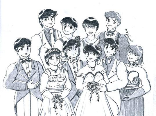 後列左からケンジ、ミカ、マユミ、ケネス、前列左から修平、春菜、健太郎、真雪、龍、夏輝