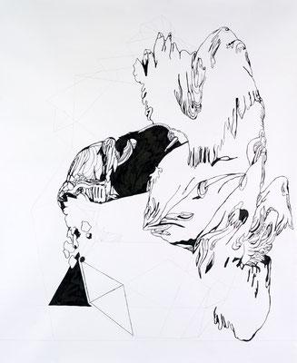 Gründer VI, 150 x 180 cm, Tusche auf Papier, Susanne Renner
