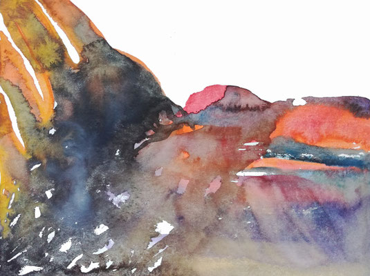 Surface, Aquarellfarbe auf Papier, 24 x 32 cm, Susanne Renner-Schulz, 2020