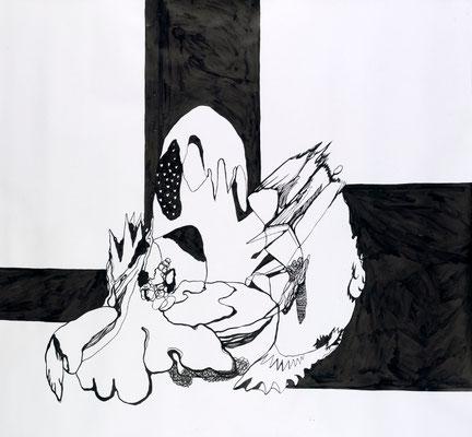 Gründer VII, 150 x 160 cm, Tusche auf Papier, Susanne Renner