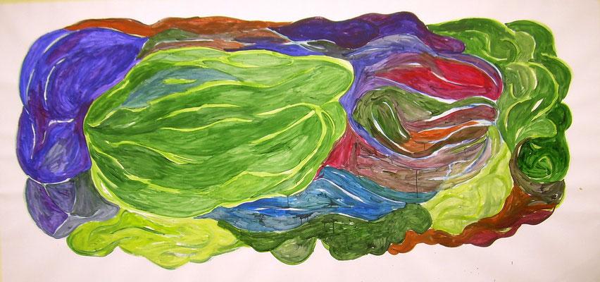 Coloured matter VIII, Acryl auf Papier, 200 x 150 cm, Susanne Renner