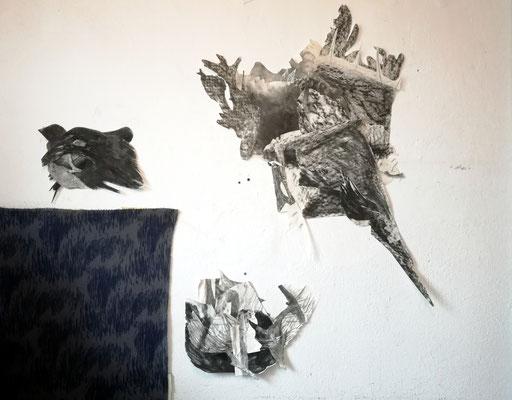 Collage-Installation, Tusche und Zeichenkohle auf Papier, Susanne Renner-Schulz, 2017