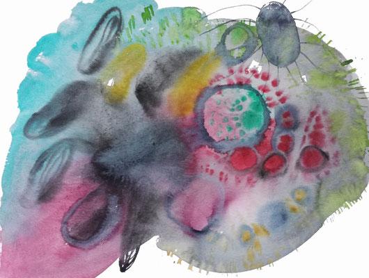 Surface II, Aquarellfarbe auf Papier, 36 x 48 cm, Susanne Renner-Schulz, 2020