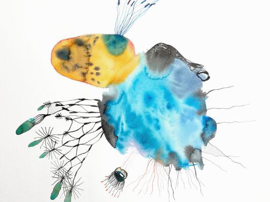 Ohne Titel, 56 x 42 cm, Aquarellfarbe auf Papier, Susanne Renner, 2019