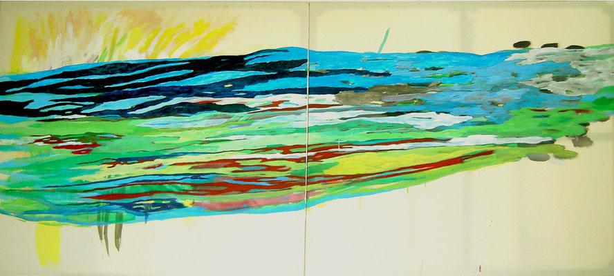 Coloured matter VI, 150 x 300 cm, Acryl auf Leinwand, Susanne Renner