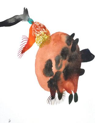 Teaser, 24 x 32 cm, Aquarellfarbe auf Papier, Susanne Renner, 2019