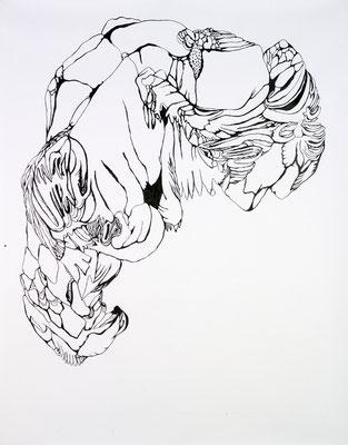 Gründer IV, 150 x 180 cm, Tusche auf Papier, Susanne Renner