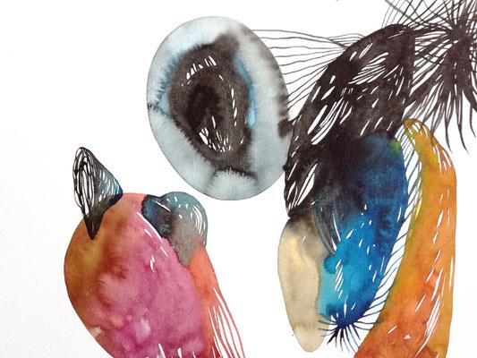 Capsule, 30 x 40 cm, Aquarellfarbe auf Papier, Susanne Renner, 2019