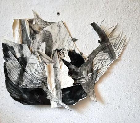 Ohne Titel, Collage, Tusche und Zeichenkohle auf Papier, Susanne Renner-Schulz, 2017