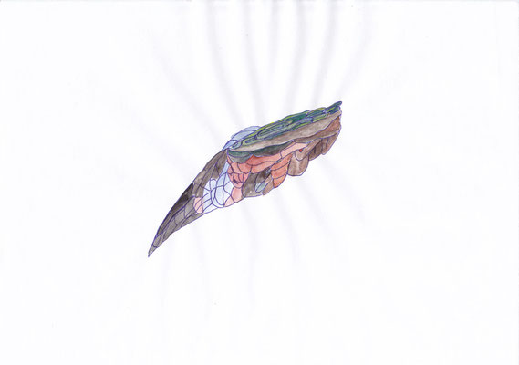 Ohne Titel, 20 x 30 cm, Kugelschreiber und Aquarellfarbe auf Papier, Susanne Renner