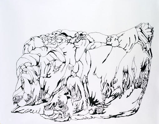 Gründer III, 170 x 150 cm, Tusche auf Papier, Susanne Renner (Verkauft)