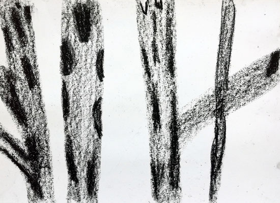 Black Matter, 50 x 70 cm, Ölkreide auf Papier, Susanne Renner-Schulz, 2014