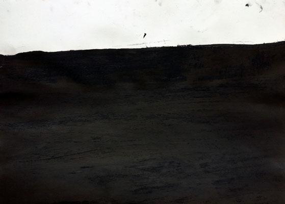 Black Matter, 50 x 70 cm, Tusche und Ölkreide auf Papier, Susanne Renner-Schulz, 2014