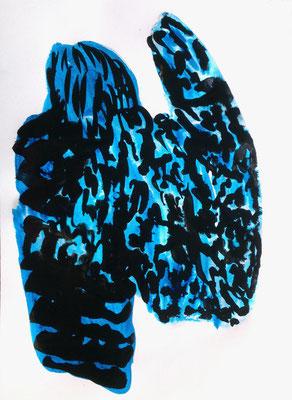 Blue skin, 40 x 30 cm, Tusche auf Papier, Susanne Renner, 2015