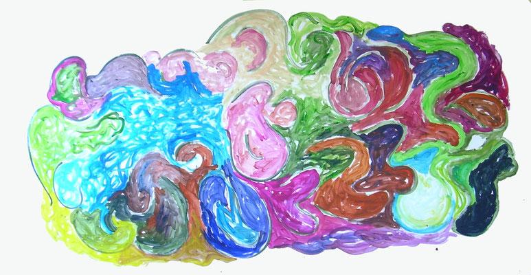 Coloured matter VII, Acryl auf Papier, 200 x 150 cm, Susanne Renner