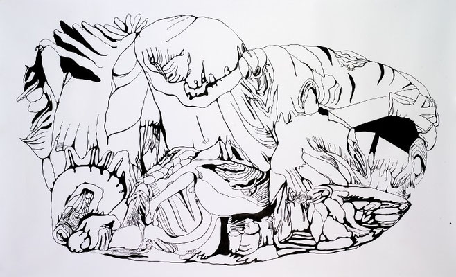 Gründer V, 200 x 150 cm, Tusche auf Papier, Susanne Renner