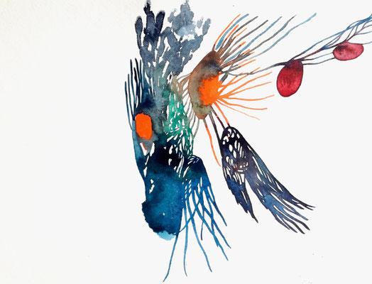 Darkness, 24 x 32 cm, Aquarellfarbe auf Papier, Susanne Renner, 2019